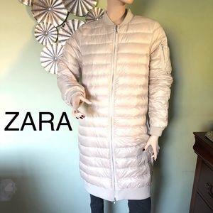 ZARA Pearl Beige Light Weight Long Puffer Coat SzM